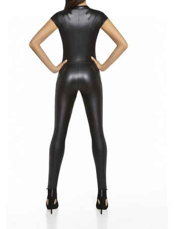 Bas Bleu Enya Latex Kurzarm-Anzug schwarz
