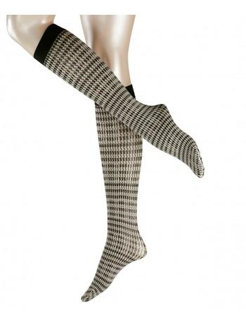 Falke Fashion Pied de Poule Kniestruempfe, im Nylon und Strumpfhosen Shop