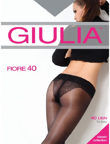 Giulia Fiore 40 Hueftstrumpfhose mit Blumenmuster Bikinislip, im Nylon und Strumpfhosen Shop