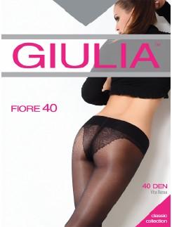 Giulia Fiore 40 Hüftstrumpfhose mit Blumenmuster Bikinislip