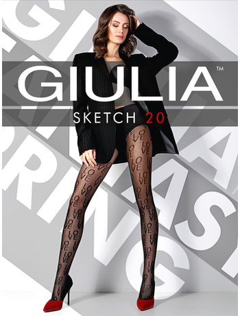Giulia Sketch 20 #1 gemusterte Strumpfhose nero