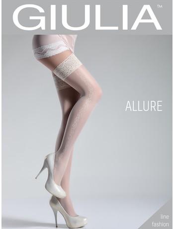 Giulia Allure 20 #5 gemusterte halterlose Strümpfe bianco