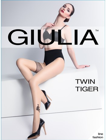 Giulia Twin Tiger Tattoo Strumpfhose, im Nylon und Strumpfhosen Shop