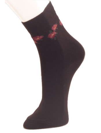 Giulia Baumwollsocken mit floralem Muster nero