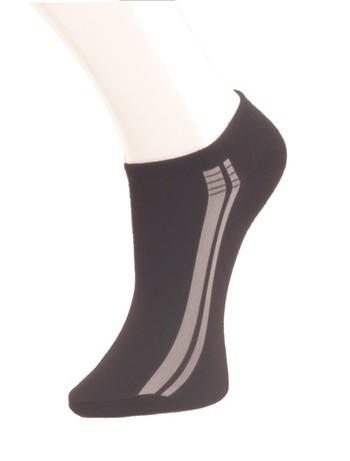 Giulia schwarze Sneakersocken mit Streifen nero