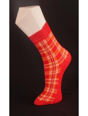 Giulia rot-orange karierte Socke rosso