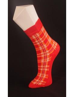 Giulia rot-orange karierte Socke
