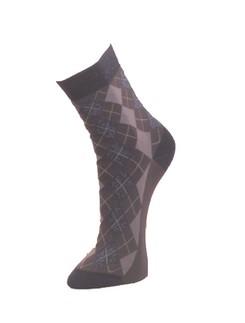 Giulia dunkelgraue Socken mit Rautenoptik