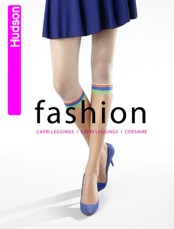 Hudson Fashion Netz Capri Leggings mit buntem Abschluss, im Nylon und Strumpfhosen Shop