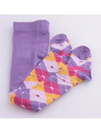 Hudson Kids Checks & Hearts Baumwollstrumpfhose lila