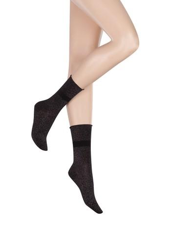 Kunert Radiance Loop Lurex-Glanz Socken schwarz