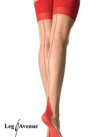 Leg Avenue Cuban Heel Nahtstruempfe mit roter Naht, im Nylon und Strumpfhosen Shop