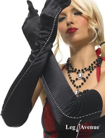 Leg Avenue Lange Satin-Handschuhe mit Strass-Steinen, im Nylon und Strumpfhosen Shop
