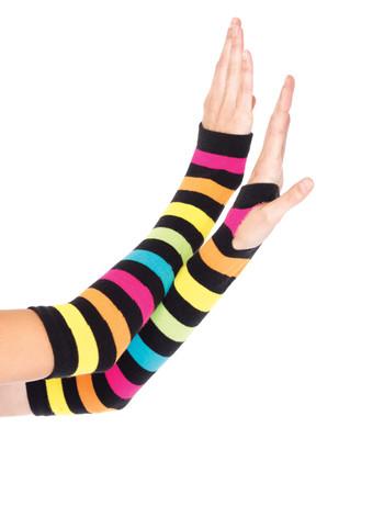 Leg Avenue Neon Rainbow fingerlose Handschuhe, im Nylon und Strumpfhosen Shop