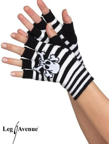 Leg Avenue fingerlose geringelte Totenkopfhandschuhe, im Nylon und Strumpfhosen Shop
