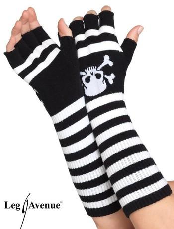 Leg Avenue fingerlose Ringelhandschuhe mit Totenkopf, im Nylon und Strumpfhosen Shop