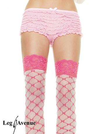 Leg Avenue Micromesh-Tangashorts mit Spitzenrüschen pink