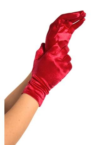 Leg Avenue Satin Wrist Length Handschuhe rot