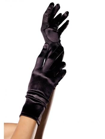 Leg Avenue Satin Wrist Length Handschuhe schwarz