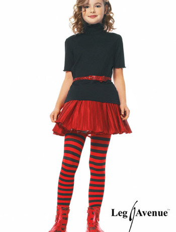 Leg Avenue Mädchen Ringelstrumpfhose schwarz-rot