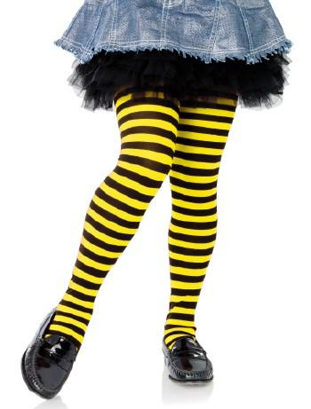 Leg Avenue Mädchen Ringelstrumpfhose schwarz-gelb