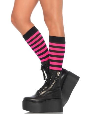 Leg Avenue geringelte Kniestrümpfe schwarz-pink