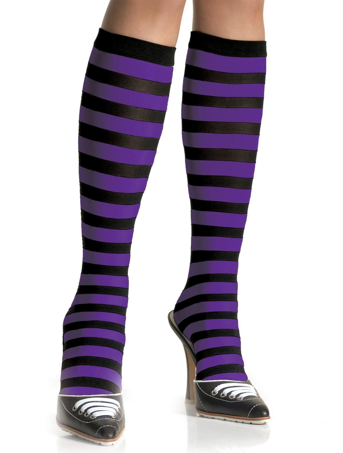 4393aa370c Leg Avenue geringelte Kniestrümpfe - schwarz-pink, schwarz-violett ...