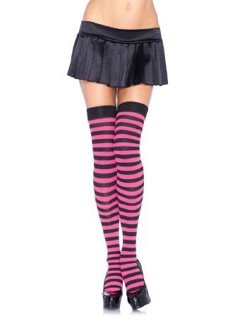 Leg Avenue geringelte Overknees schwarz/pink