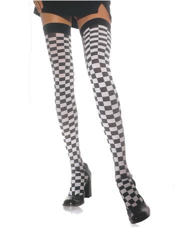 Leg Avenue Checkerboard halterlose Strümpfe schwarz-weiss