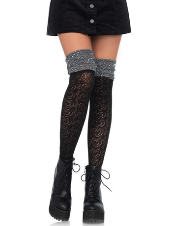 Leg Avenue Sweetheart Knit Overknee mit Metallic-Garn schwarz