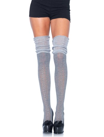 Leg Avenue Overknee Strümpfe in Strick-Optik & Ajour grau