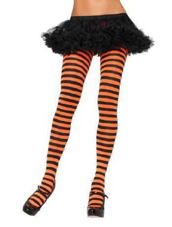 Leg Avenue blickdichte Ringel-Strumpfhose schwarz-orange
