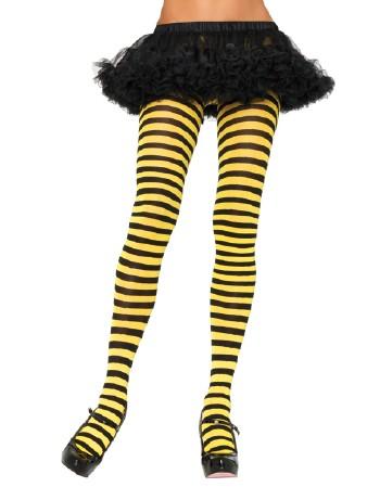 Leg Avenue blickdichte Ringel-Strumpfhose schwarz-gelb