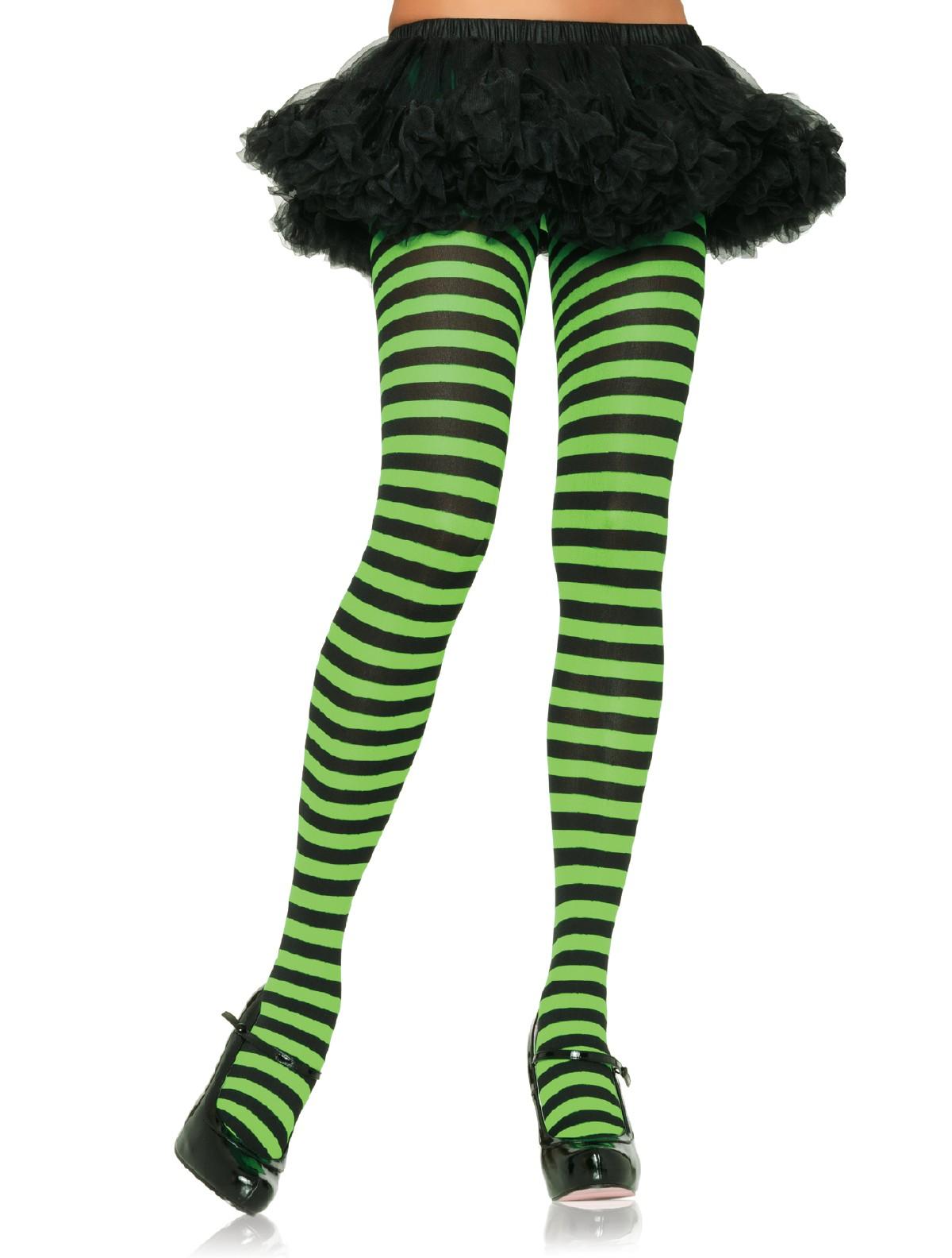 2c937d1200 Leg Avenue Ringel-Strumpfhose - schwarz/grün, schwarz/weiss, schwarz ...