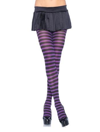 Leg Avenue geringelte Strumpfhose Übergrosse schwarz-violett