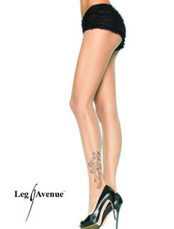Leg Avenue transparente Strumpfhose mit Tattoo Aufdruck