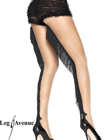 Leg Avenue transparente Feinstrumpfhose mit Fransel Naht nude/black