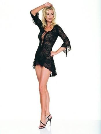 Leg Avenue Spanisches Mini Spitzenkleid und Tanga Set - Leg Avenue schwarzes, spanisches Mini Spitzenkleid aus feiner Jacquardspitze mit extravaganter Schnuerung und flatternden Aermeln inklusive Tanga im Set