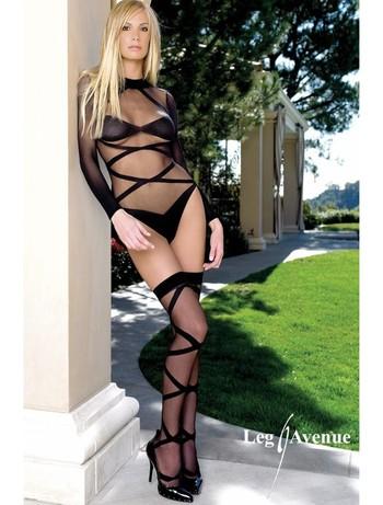 Leg Avenue Zweiteiler: Body mit passenden Struempfen, im Nylon und Strumpfhosen Shop