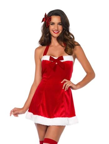 Leg Avenue Weihnachtsfrau Wichtel Kleid mit Overknee - Leg Avenue rotes Weihnachtsfrau Wichtel Kleid mit Neckholder und grosser Schleife sowie passenden rot/weiss geringelten Overknees ohne Gummibund
