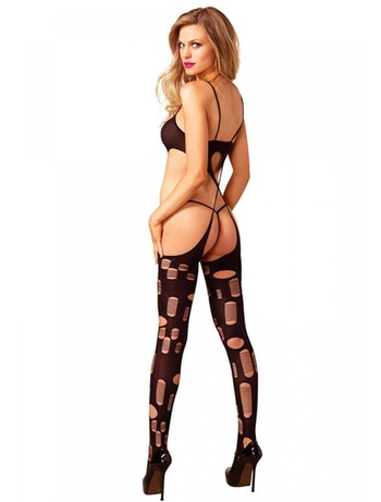 Leg Avenue Shredded Bodystocking mit gekreuzten Bändern schwarz