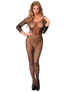 Leg Avenue langärmeliger Fishnet Bodystocking metallic Look