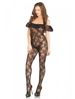 Leg Avenue Floral Lace schwarzer Bodystocking