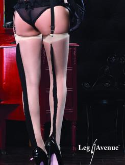 Leg Avenue Strapsstrümpfe mit gefranster Naht