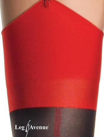 Leg Avenue Cuban Heel Strapsstrumpf mit Naht schwarz-rot