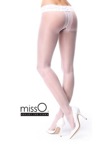 MissO Ouvertstrumpfhose mit dekorativem Spitzenbund weiss