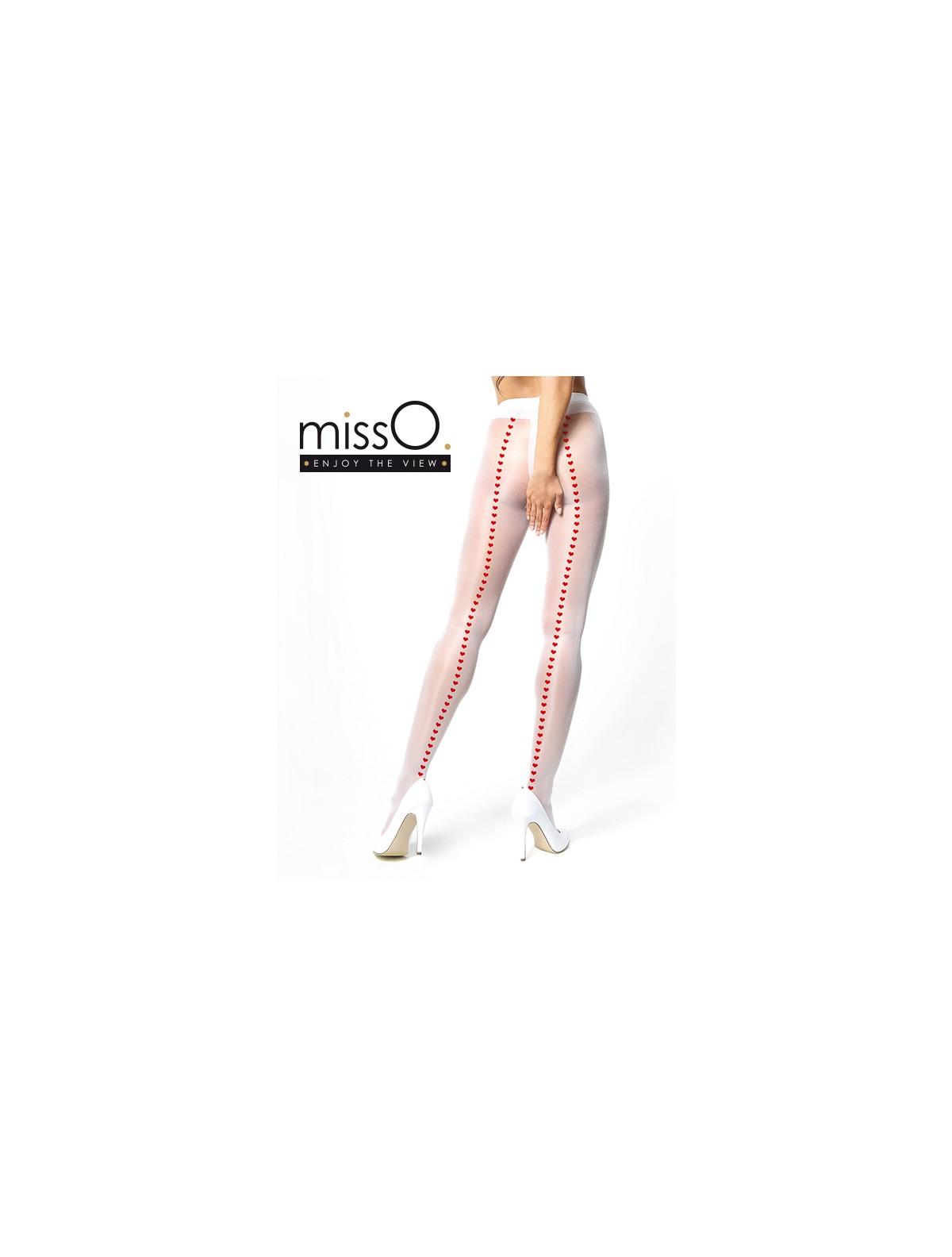 Qualitätsprodukte hohe Qualität kostengünstig MissO Ouvert weiße Strumpfhose mit Herzchen-Naht