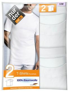 Nur Der Herren T-Shirt Rundhalsausschnitt Doppelpack 100% Cotton